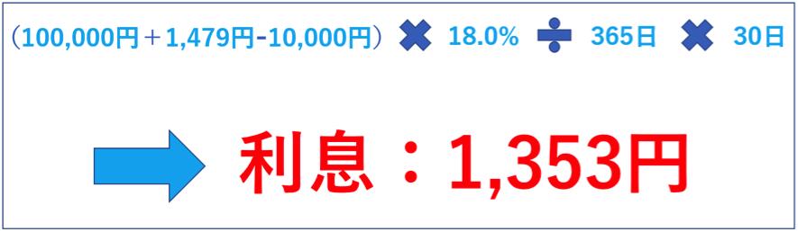 金利18.0% 10万円 1万円 30日間