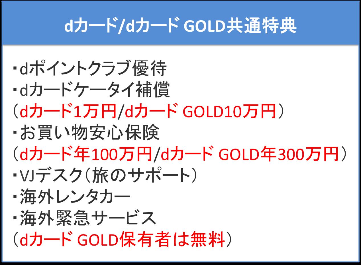 dカード/dカード GOLD共通で利用出来るお得な特典